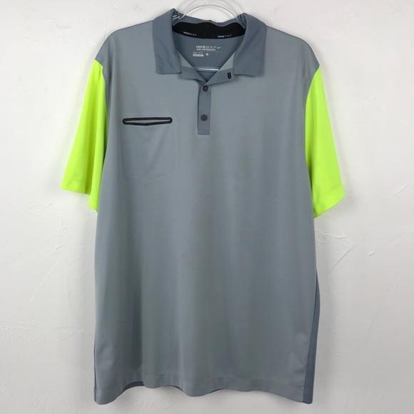 Men's Nike Golf Dri-FIT Gray Yellow Polo Shirt XL